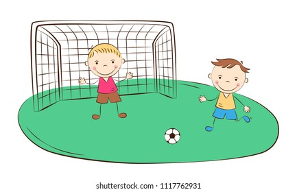 Happy cartoon boys playing football. Kids sport activity. Vector illustration