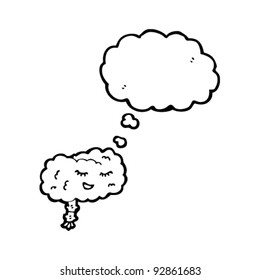 happy cartoon brain with thought bubble