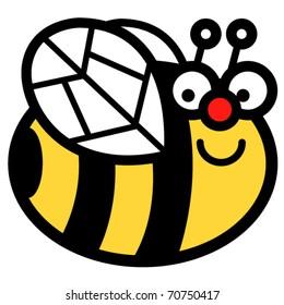 Happy cartoon bumblebee clip art in vector format.