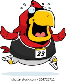 A happy cartoon cardinal running in a race.