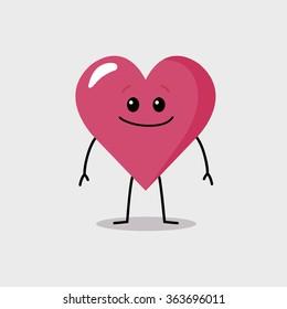 Happy cartoon character heart staying