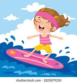 Happy Cartoon Character Surfing At Sea