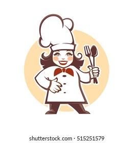 happy cartoon chef, vector illustration  for your logo design