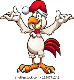 Happy cartoon chicken with a Christmas hat. Vector clip art illustration with simple gradients. All in a single layer.