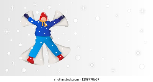 Happy cartoon child lying on a snow and shows angel,It's snowing and enjoy first snowfall,christmas background,space for text,happy New Year,paper art style,beautiful winter scene vector illustration.