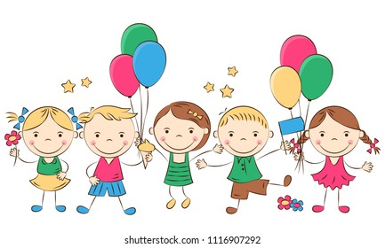 Happy cartoon children with colored balloons. Funny boys and girls. Holidays, vacations, weekends. Vector illustration