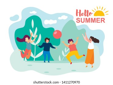 Happy Cartoon Children Play Ball Sunny Summer Day in Park Vector Illustration. Nature Recreation, Spring Holidays, Sport Activity Outdoors. Childhood, Family Vacation, Frienship, Baby Leisure