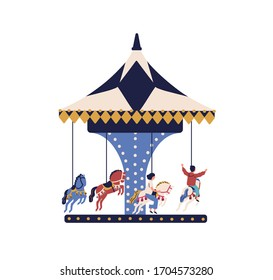 Happy cartoon children ride on carousel horse isolated on white background. Joyful kids spend time at amusement park vector flat illustration. Carefree boy and girl enjoy entertainment have fun