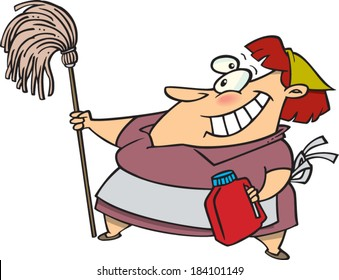 happy cartoon cleaning woman