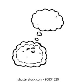 happy cartoon cloud with thought balloon