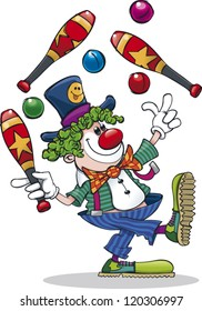 A happy cartoon clown juggling