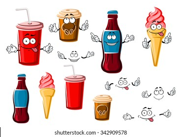 Happy cartoon coffee and soda beverages in takeaway paper cups, strawberry ice cream cone and bottle of soft drink, for fast food or dessert design