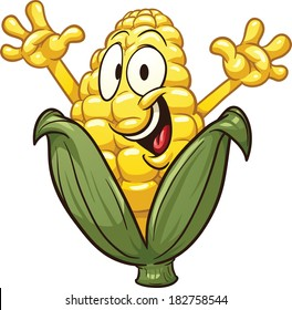 Happy cartoon corn. Vector clip art illustration with simple gradients. All in a single layer.