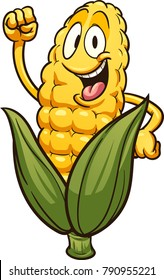 Happy cartoon corn. Vector clip art illustration with simple gradients. Leaves and corn on separate layers.