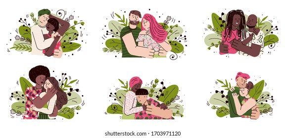 Happy cartoon couple hug set with people in love hugging each other