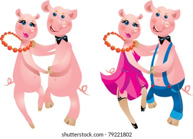 A happy cartoon couple of pigs dancing