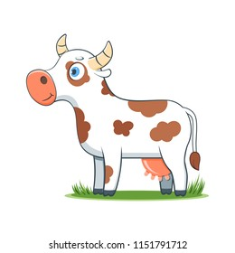 A happy cartoon cow. Comic farm animal character. Vector Illustration