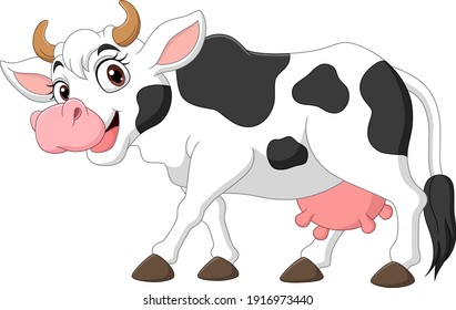 Happy cartoon cow isolated on white background