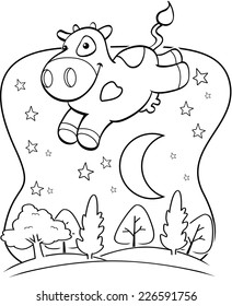 A happy cartoon cow jumping over the moon.