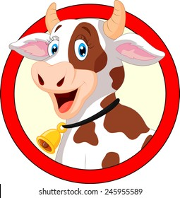 Happy cartoon cow on white background