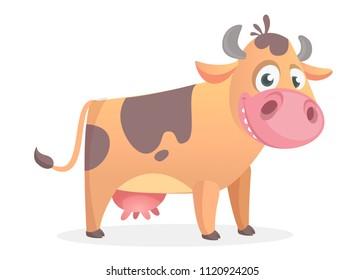 Happy cartoon cow. Vector