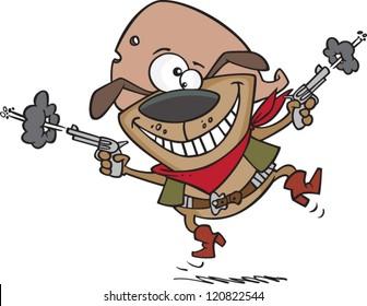 happy cartoon cowboy dog wearing western clothes and shooting guns