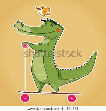 Happy Cartoon Crocodile Bird On His Stock Vector (Royalty Free ... on cartoon stay in shape, cartoon body of water, goodbye cruel world cartoon golf, sea animal headcovers golf,