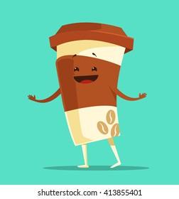 Happy cartoon cup of coffee. Vector flat illustration