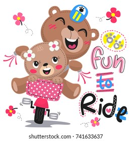 Happy cartoon cute bears riding bike isolated on white background illustration vector.