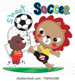 Happy cartoon cute lion and bear playing soccer ball on field on polka dot background illustration vector.