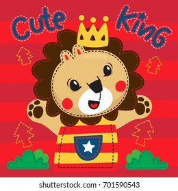 Happy cartoon cute lion wearing a crown is king of the jungle on striped background illustration vector.