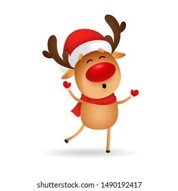 Happy cartoon deer wishing Merry Christmas. Cute reindeer in Santa hat dancing and singing. Christmas concept. Realistic vector illustration for greeting cards, festive banner and poster design