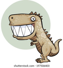 A happy, cartoon dinosaur with a big smile.