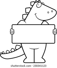 A happy cartoon dinosaur with a sign.