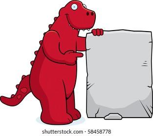 A happy cartoon dinosaur with a stone sign.