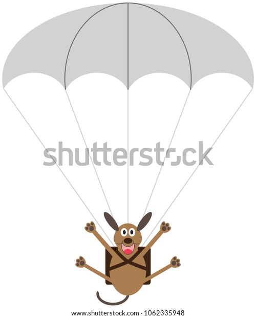 A happy cartoon dog is floating toward the ground strapped to a parachute