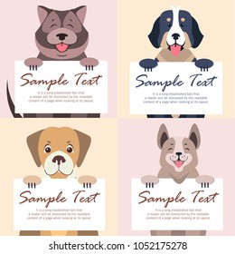 Happy cartoon dogs characters holding banners with sample text in pawns with message on white board concepts set. Lovely purebred pet vector illustration for shop or veterinary clinic ad
