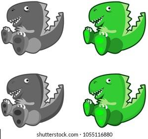 Happy cartoon dragon vector smiling