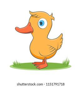 A happy cartoon duck. Comic farm animal character. Vector Illustration