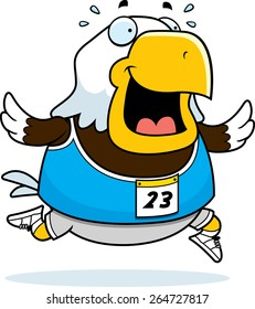 A happy cartoon eagle running in a race.