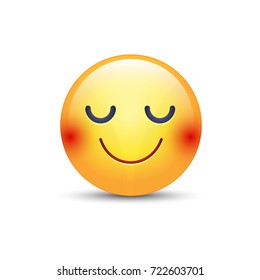 Happy cartoon emoji face with closed eyes. Smiling yellow cute emoticon. Fun smiley for application and chat.