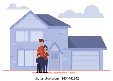 Happy Cartoon Family Characters Stand Outside near New Home. Parents and Child Moving to Rent or Buying House. Real Estate Property, Mortgage Loan. Vector Modern Residential Cottage Flat Illustration