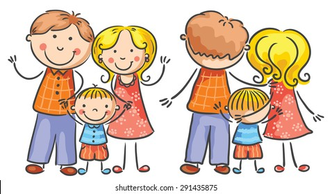 Happy cartoon family with one child, both front and rear views, no gradients, isolated