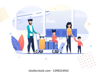 Happy Cartoon Family Travel Activities in Airport. Father Pushes Cart with Luggage and Sitting Tired Daughter. Vector Mother Goes with Suitcase and Holds Son by Hand. Illustration Departure Arrival