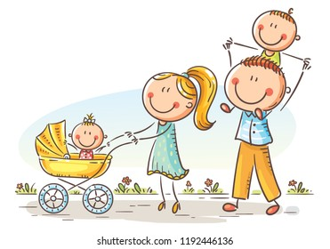 Happy cartoon family with two children walking outdoors, vector illustration