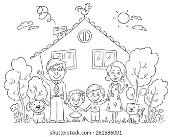 Happy cartoon family with two children and pets near their house with a garden, black and white