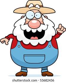 A happy cartoon farmer with an idea.