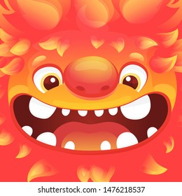 Happy cartoon fire monster - square avatar with funny alien character with flame skin and goofy smiling face, cute flaming lion or dragon creature with big teeth. Vector illustration