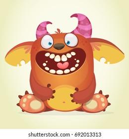 Happy cartoon fluffy monster. Vector Halloween monster. Design for logo, emblem, print, t-shirt or poster