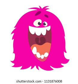 Happy cartoon furry monster screaming with big mouth. Vector Halloween illustration. Big set of cartoon monsters